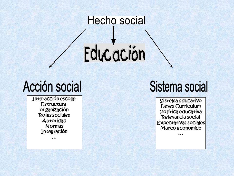 Estructura-organización Expectativas sociales