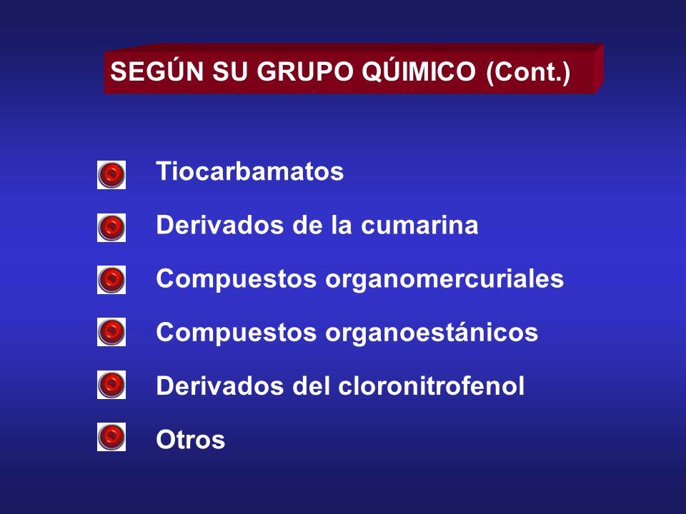 SEGÚN SU GRUPO QÚIMICO (Cont.)