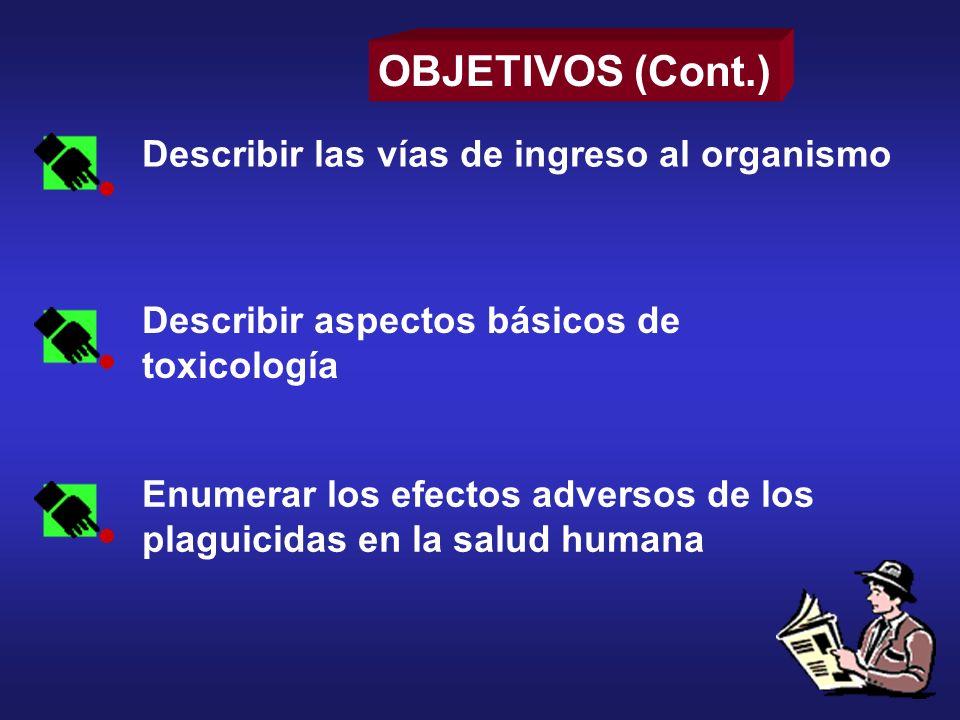 OBJETIVOS (Cont.) Describir las vías de ingreso al organismo
