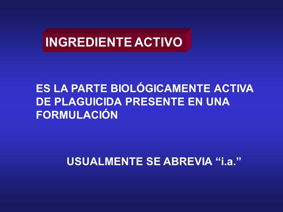 INGREDIENTE ACTIVO ES LA PARTE BIOLÓGICAMENTE ACTIVA