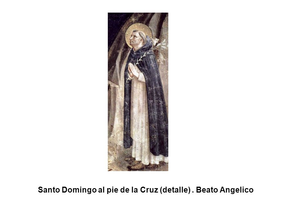 Santo Domingo al pie de la Cruz (detalle) . Beato Angelico