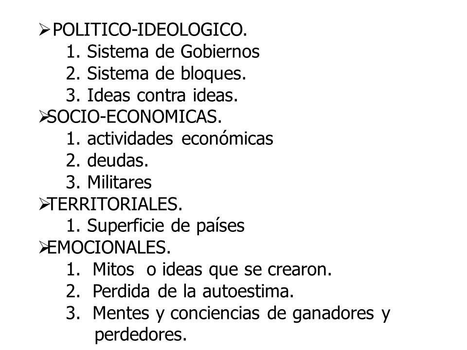 POLITICO-IDEOLOGICO. 1. Sistema de Gobiernos. 2. Sistema de bloques. 3. Ideas contra ideas. SOCIO-ECONOMICAS.