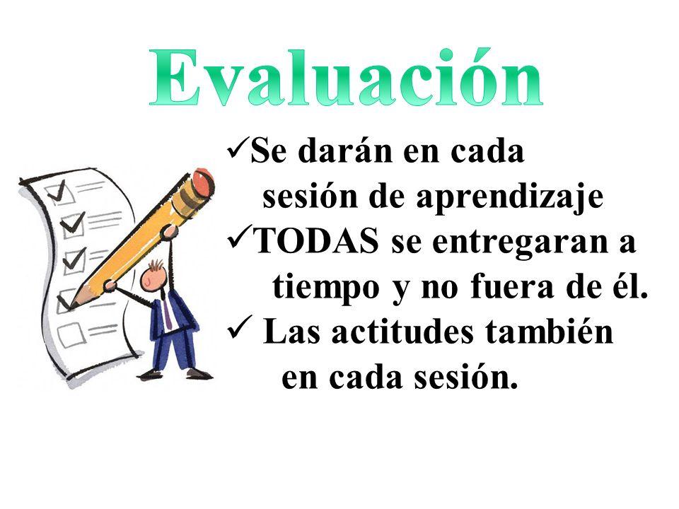 Evaluación sesión de aprendizaje TODAS se entregaran a