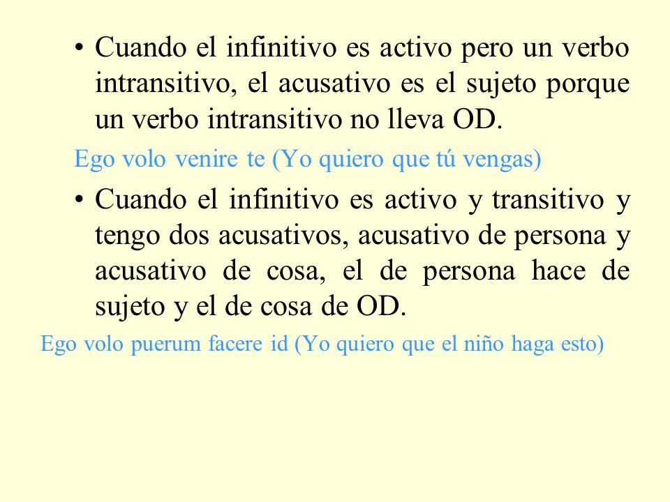 Cuando el infinitivo es activo pero un verbo intransitivo, el acusativo es el sujeto porque un verbo intransitivo no lleva OD.