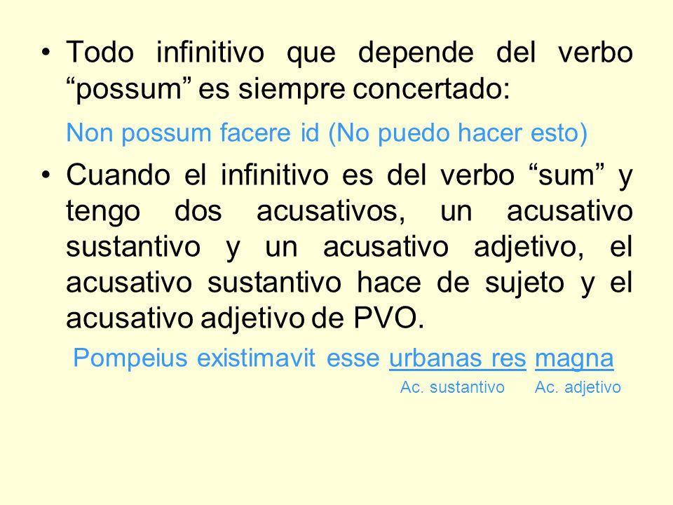 Todo infinitivo que depende del verbo possum es siempre concertado: