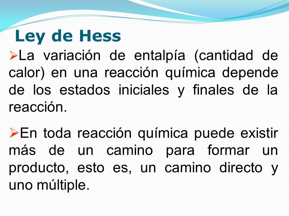 Ley de Hess La variación de entalpía (cantidad de calor) en una reacción química depende de los estados iniciales y finales de la reacción.