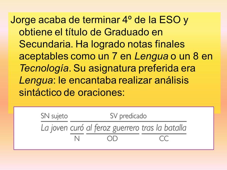 Jorge acaba de terminar 4º de la ESO y obtiene el título de Graduado en Secundaria.