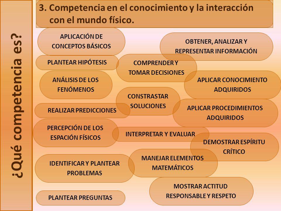 3. Competencia en el conocimiento y la interacción con el mundo físico.