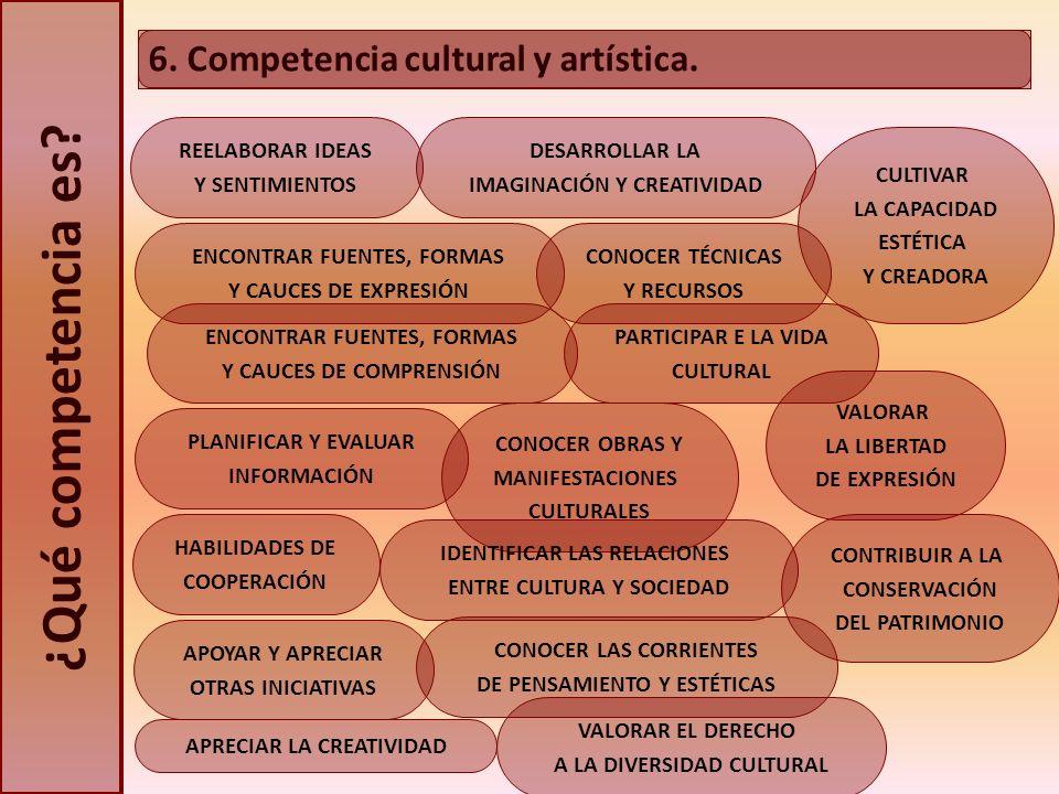 ¿Qué competencia es 6. Competencia cultural y artística.