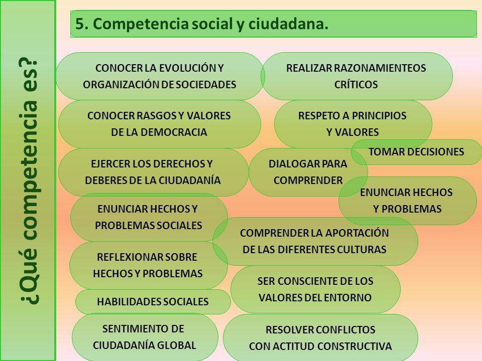 ¿Qué competencia es 5. Competencia social y ciudadana.