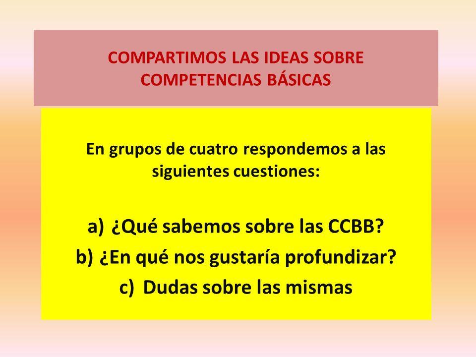 COMPARTIMOS LAS IDEAS SOBRE COMPETENCIAS BÁSICAS