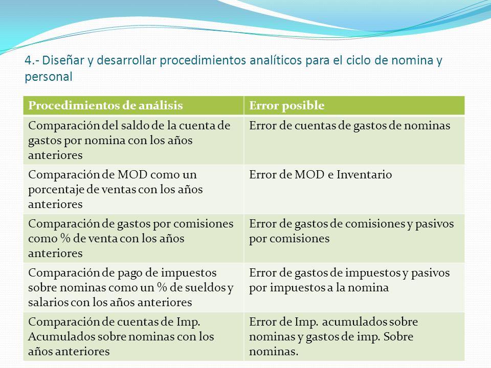 4.- Diseñar y desarrollar procedimientos analíticos para el ciclo de nomina y personal