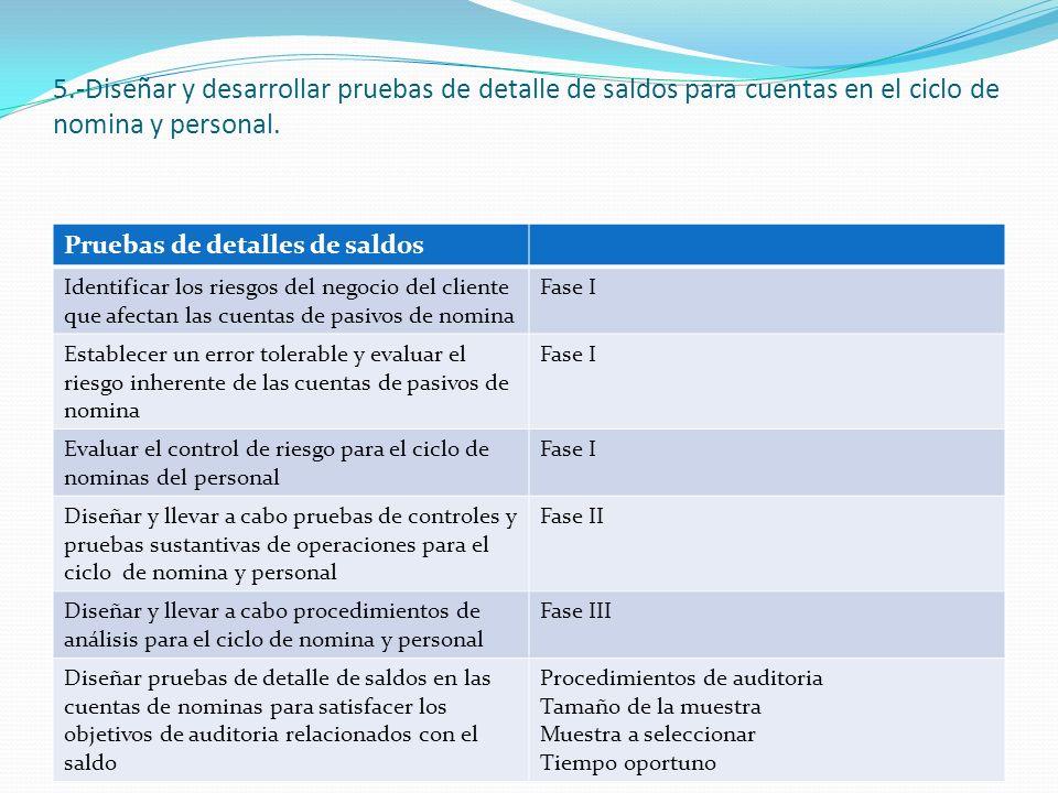 5.-Diseñar y desarrollar pruebas de detalle de saldos para cuentas en el ciclo de nomina y personal.