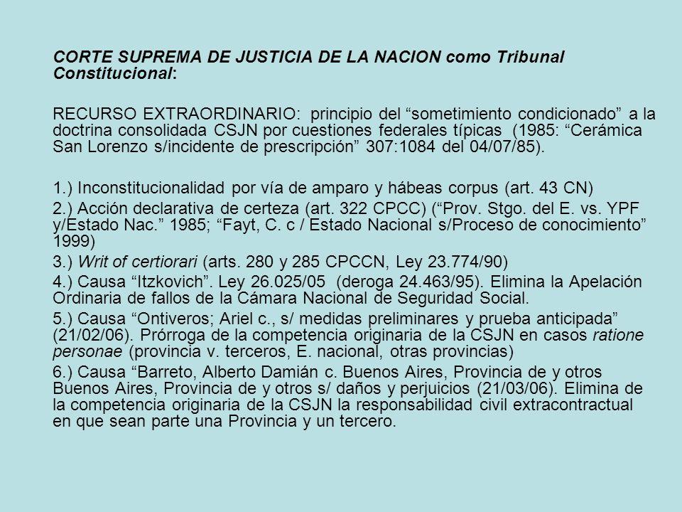 CORTE SUPREMA DE JUSTICIA DE LA NACION como Tribunal Constitucional: