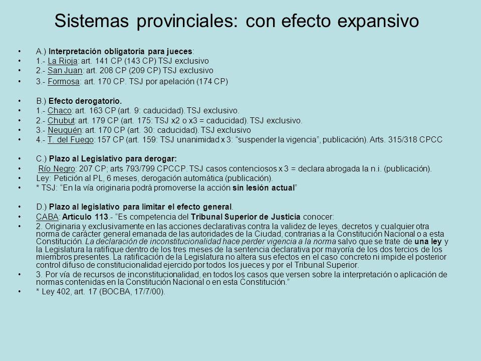 Sistemas provinciales: con efecto expansivo