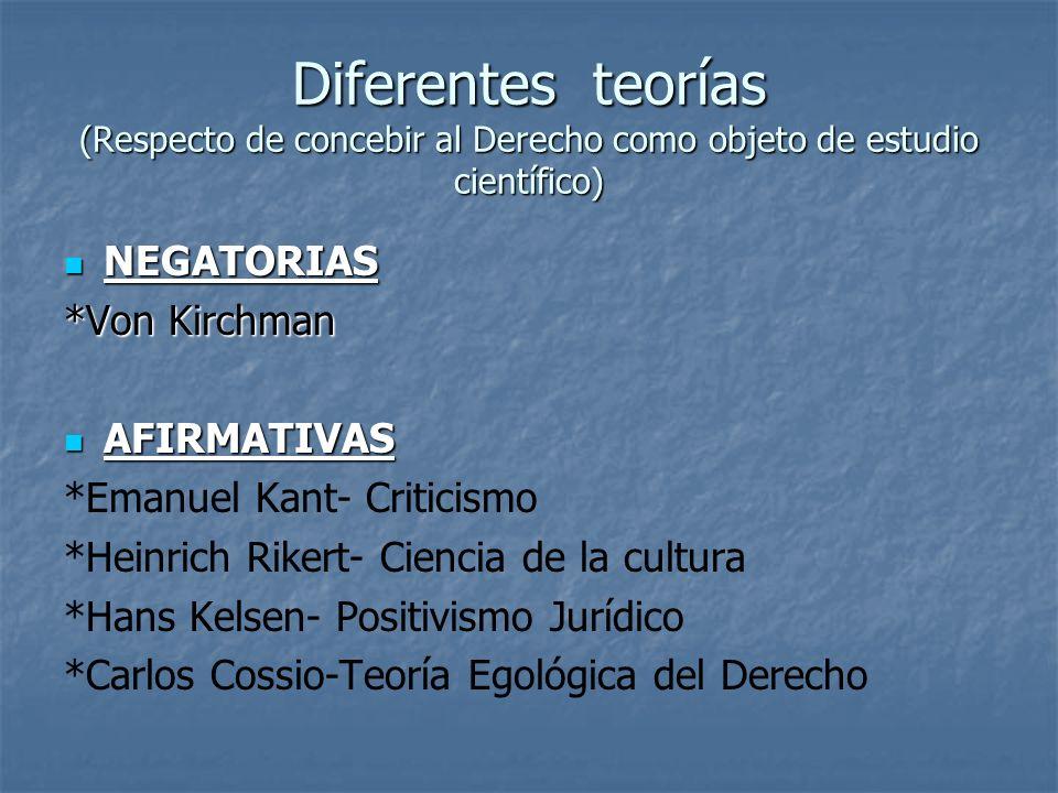 Diferentes teorías (Respecto de concebir al Derecho como objeto de estudio científico)