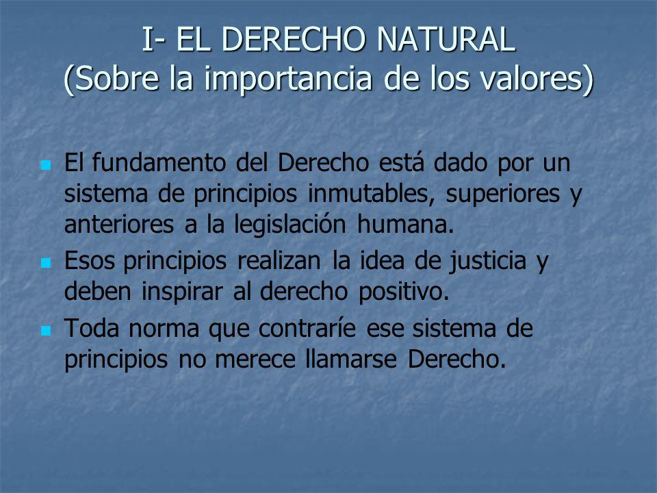 I- EL DERECHO NATURAL (Sobre la importancia de los valores)