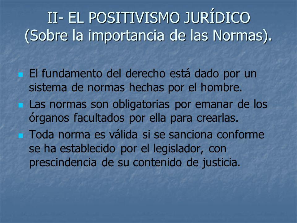 II- EL POSITIVISMO JURÍDICO (Sobre la importancia de las Normas).