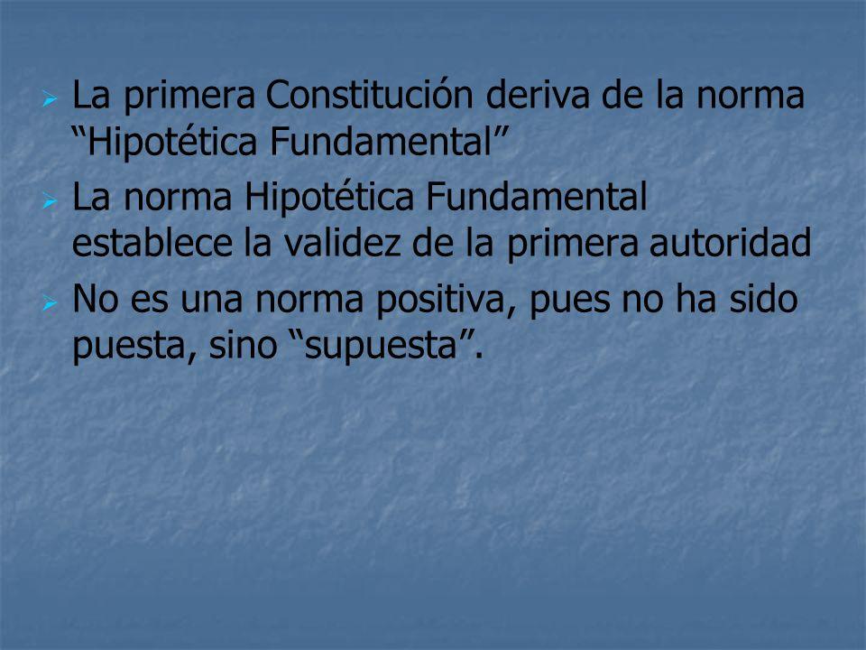 La primera Constitución deriva de la norma Hipotética Fundamental