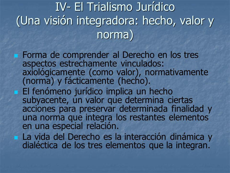 IV- El Trialismo Jurídico (Una visión integradora: hecho, valor y norma)