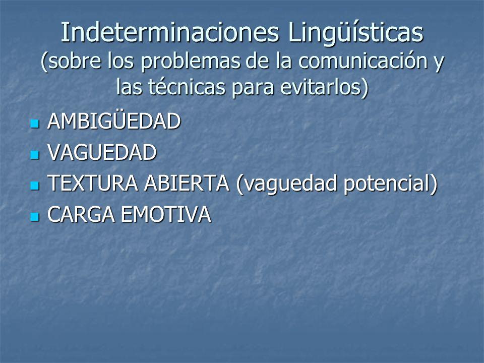 Indeterminaciones Lingüísticas (sobre los problemas de la comunicación y las técnicas para evitarlos)