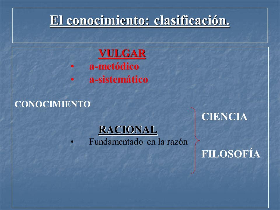 El conocimiento: clasificación.