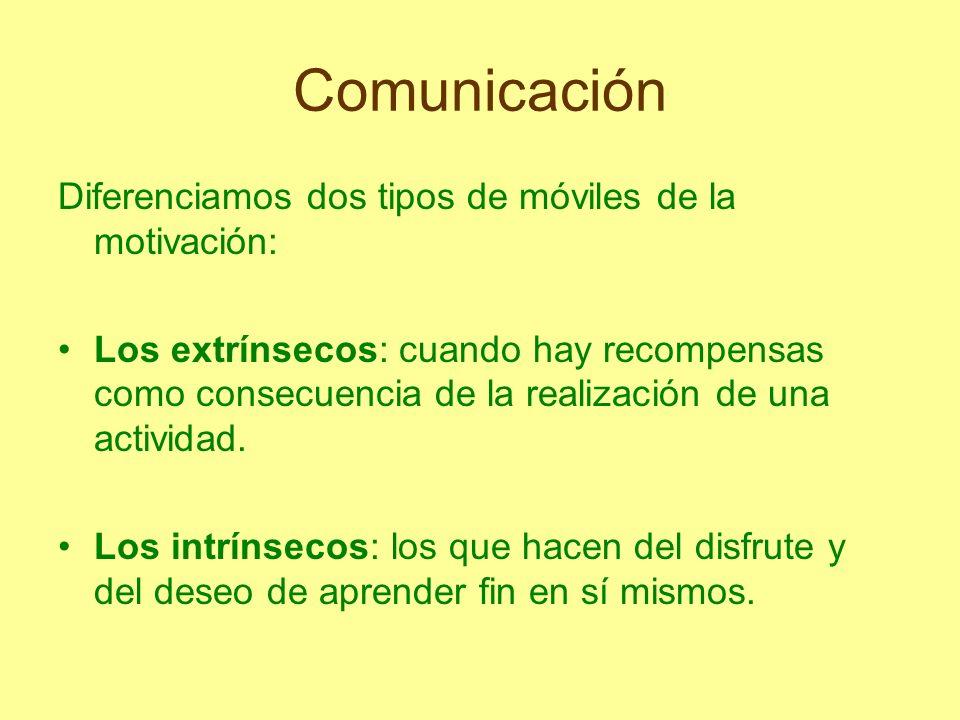 Comunicación Diferenciamos dos tipos de móviles de la motivación: