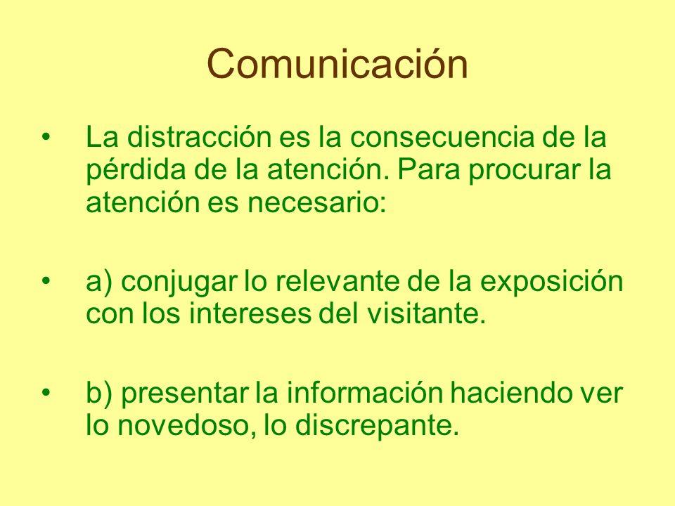 ComunicaciónLa distracción es la consecuencia de la pérdida de la atención. Para procurar la atención es necesario: