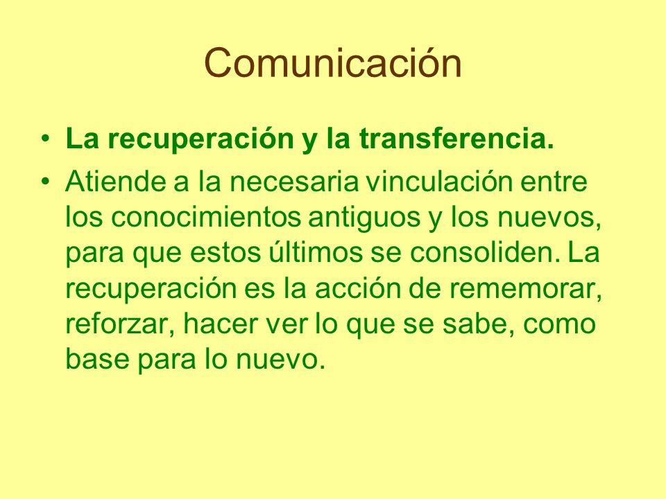 Comunicación La recuperación y la transferencia.