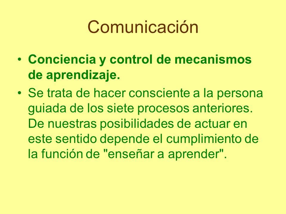 Comunicación Conciencia y control de mecanismos de aprendizaje.