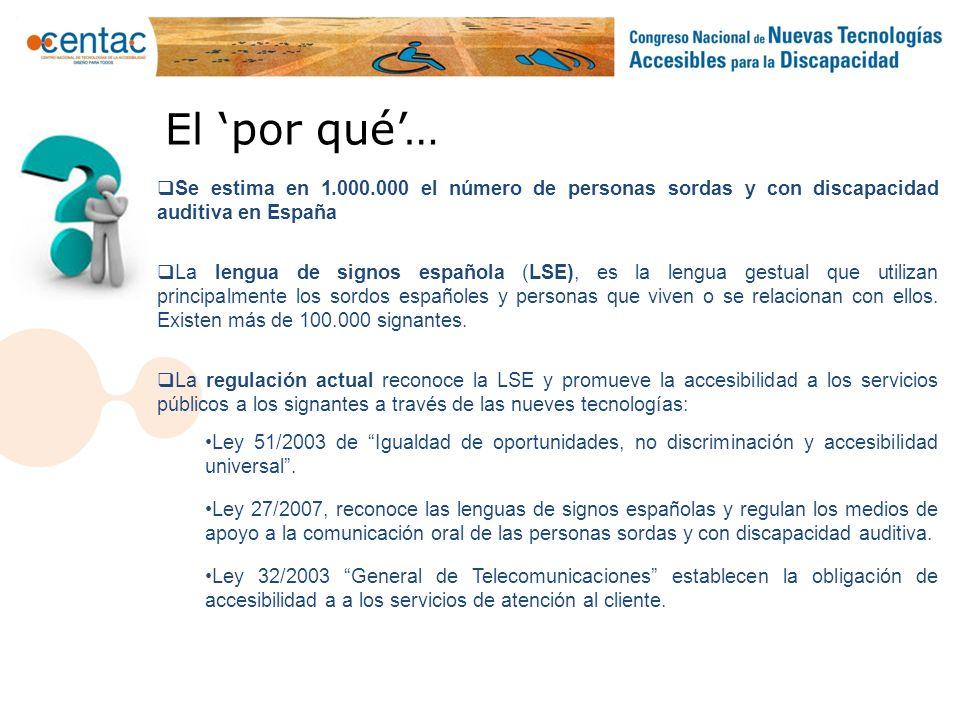 El 'por qué'… Se estima en 1.000.000 el número de personas sordas y con discapacidad auditiva en España.