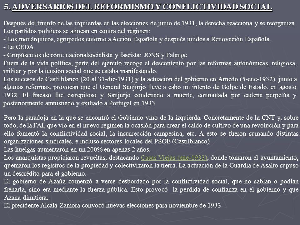 5. ADVERSARIOS DEL REFORMISMO Y CONFLICTIVIDAD SOCIAL