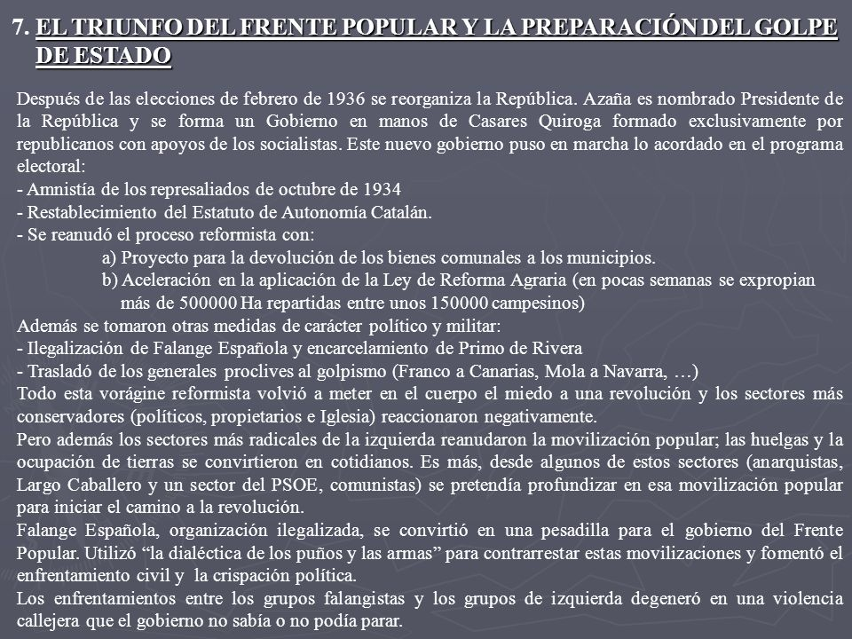 7. EL TRIUNFO DEL FRENTE POPULAR Y LA PREPARACIÓN DEL GOLPE DE ESTADO