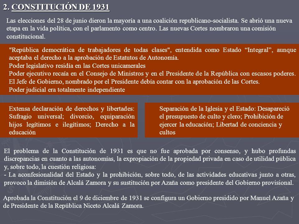 2. CONSTITUCIÓN DE 1931 Las elecciones del 28 de junio dieron la mayoría a una coalición republicano-socialista. Se abrió una nueva.