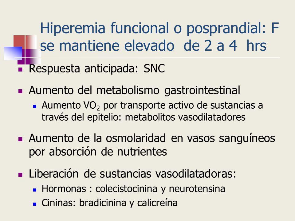 Hiperemia funcional o posprandial: F se mantiene elevado de 2 a 4 hrs