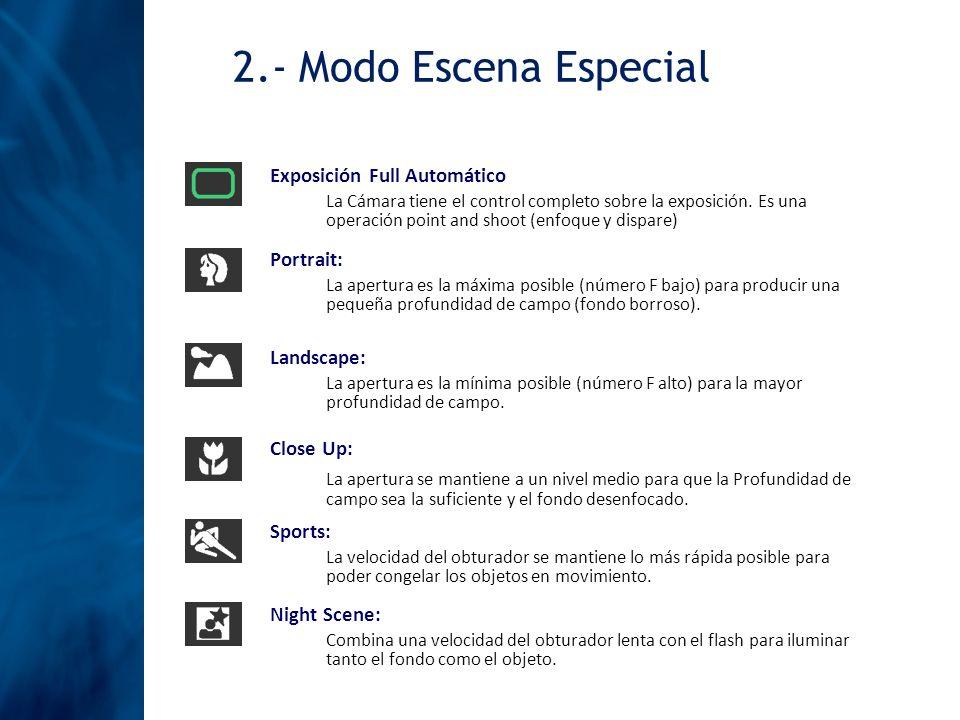 2.- Modo Escena Especial Exposición Full Automático.