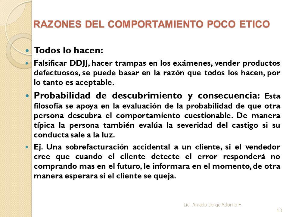 RAZONES DEL COMPORTAMIENTO POCO ETICO