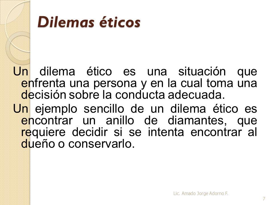 Dilemas éticosUn dilema ético es una situación que enfrenta una persona y en la cual toma una decisión sobre la conducta adecuada.