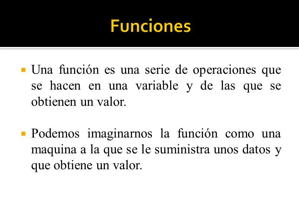 Funciones Una función es una serie de operaciones que se hacen en una variable y de las que se obtienen un valor.