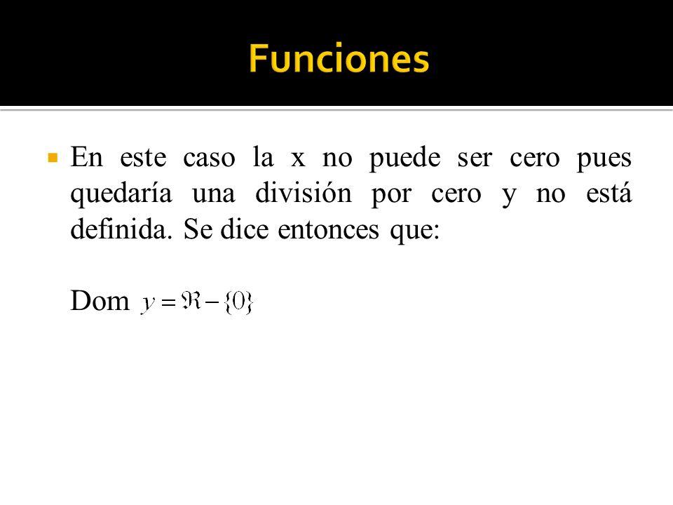 Funciones En este caso la x no puede ser cero pues quedaría una división por cero y no está definida. Se dice entonces que: