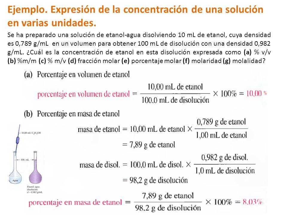 Ejemplo. Expresión de la concentración de una solución en varias unidades.
