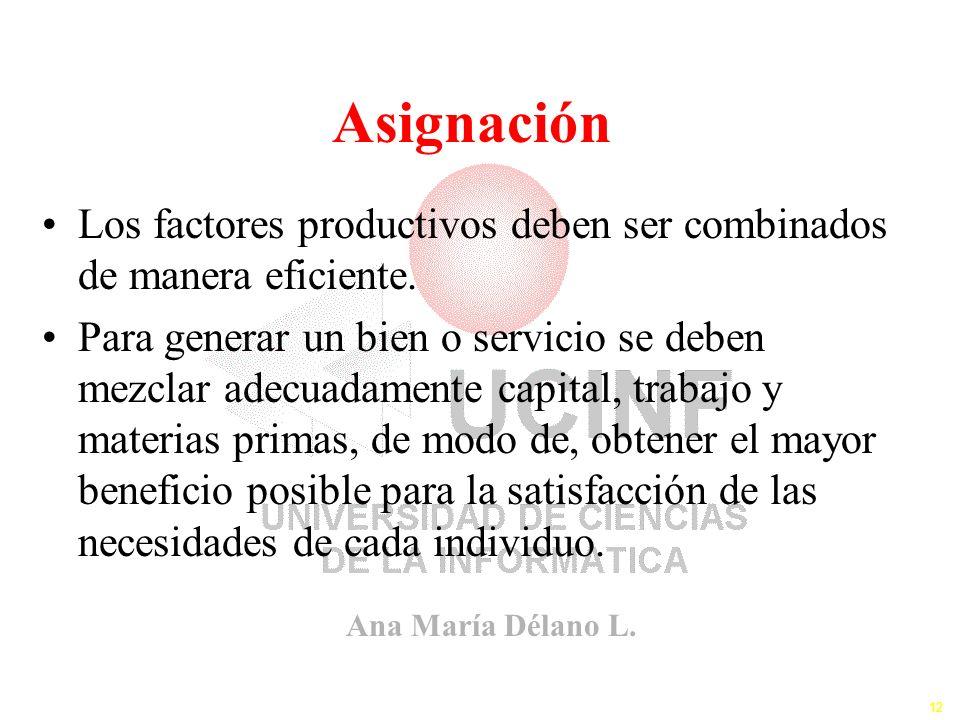 Asignación Los factores productivos deben ser combinados de manera eficiente.