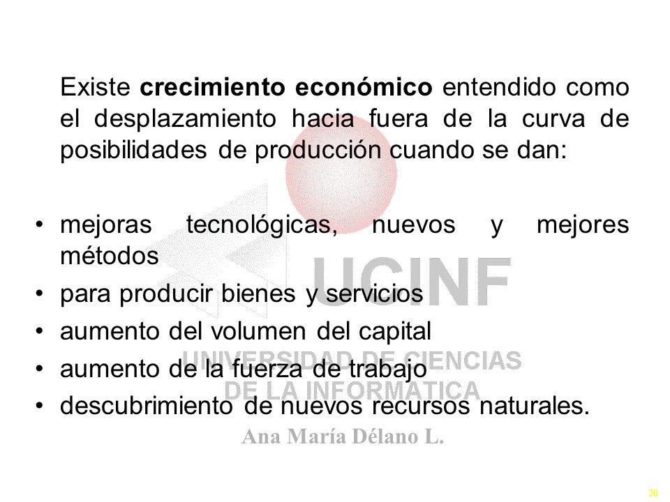 Existe crecimiento económico entendido como el desplazamiento hacia fuera de la curva de posibilidades de producción cuando se dan: