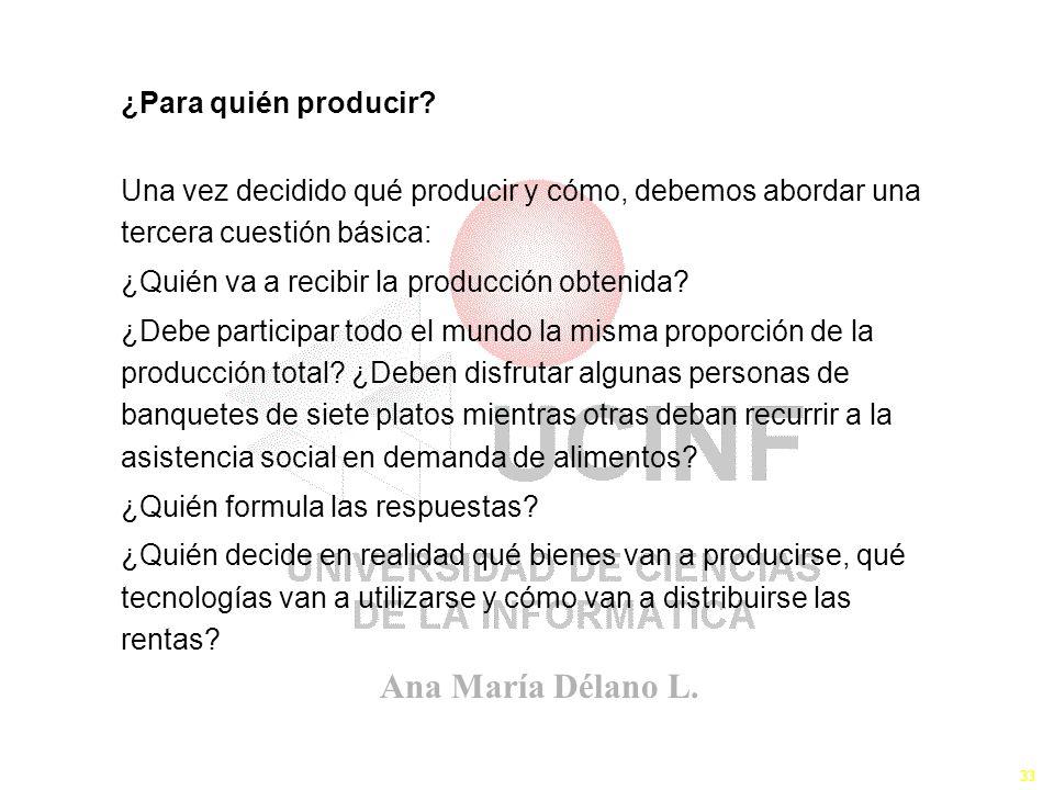 ¿Para quién producir Una vez decidido qué producir y cómo, debemos abordar una tercera cuestión básica: