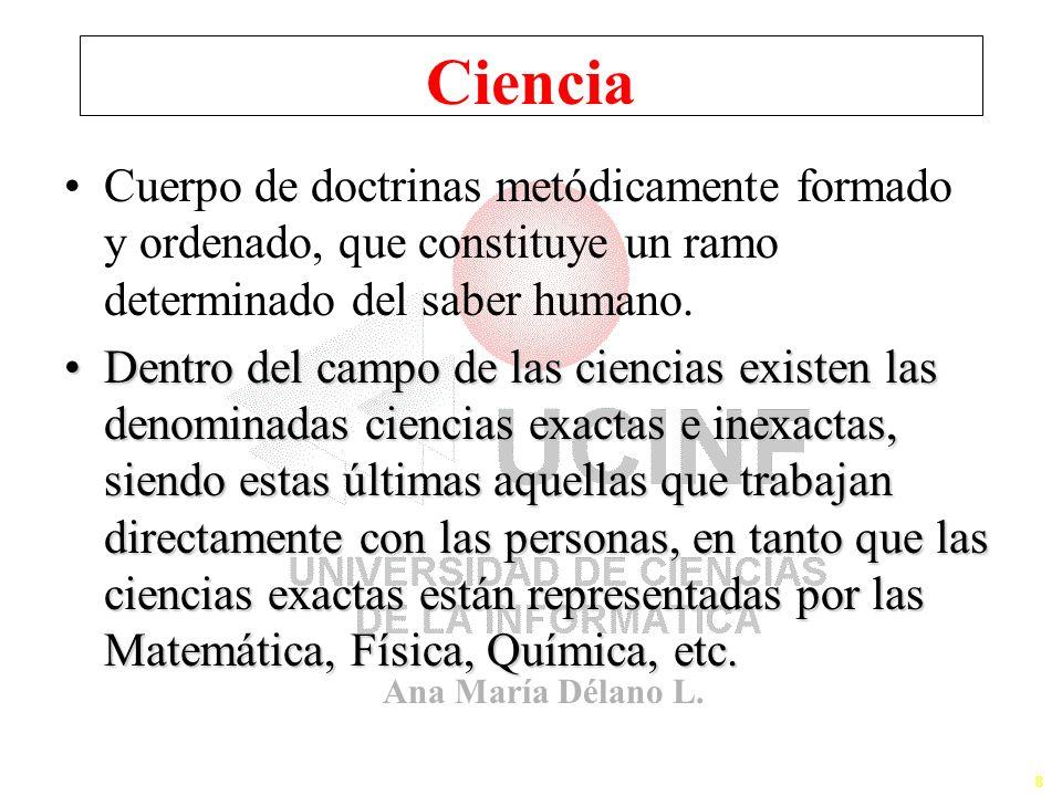 Ciencia Cuerpo de doctrinas metódicamente formado y ordenado, que constituye un ramo determinado del saber humano.