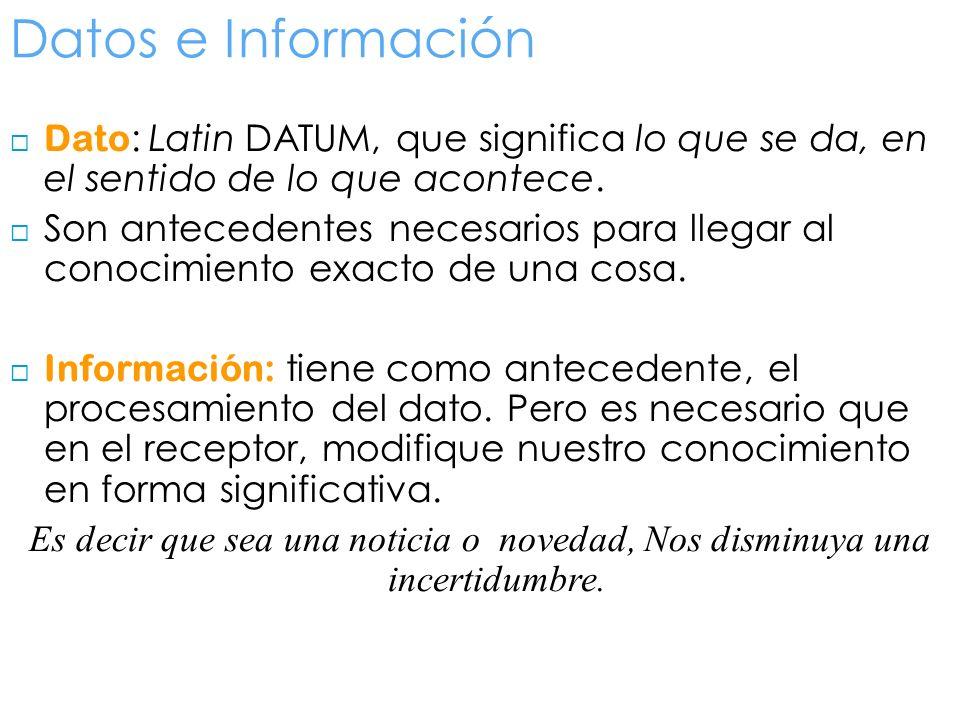 Datos e Información Dato: Latin DATUM, que significa lo que se da, en el sentido de lo que acontece.