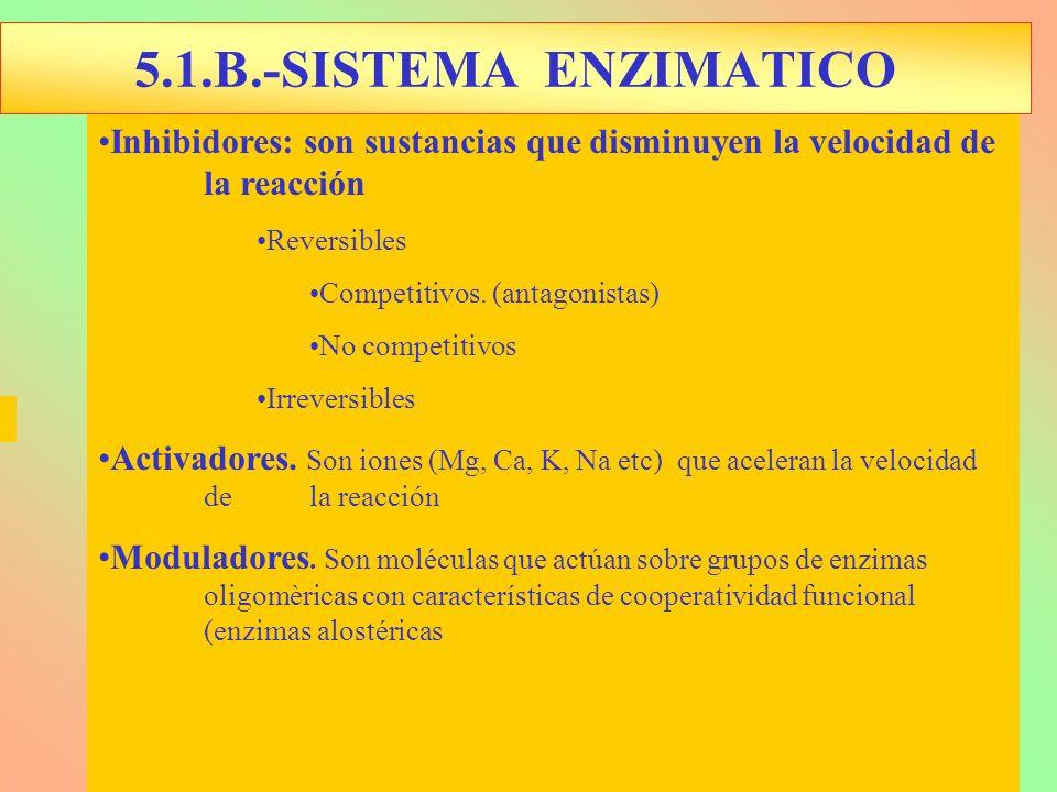 5.1.B.-SISTEMA ENZIMATICO Inhibidores: son sustancias que disminuyen la velocidad de la reacción.