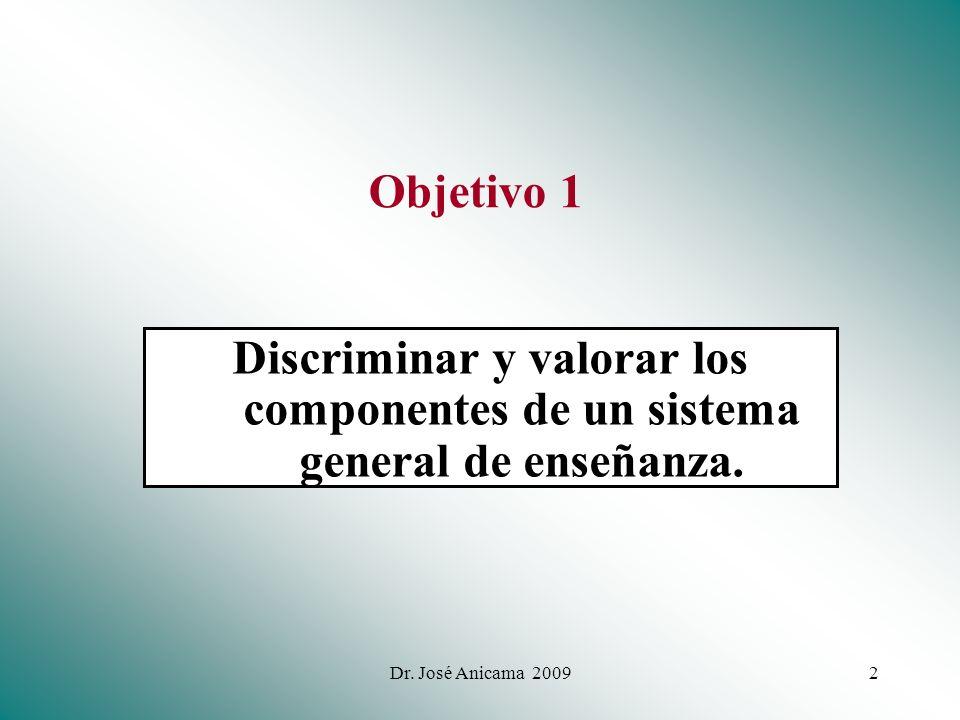 Objetivo 1 Discriminar y valorar los componentes de un sistema general de enseñanza.