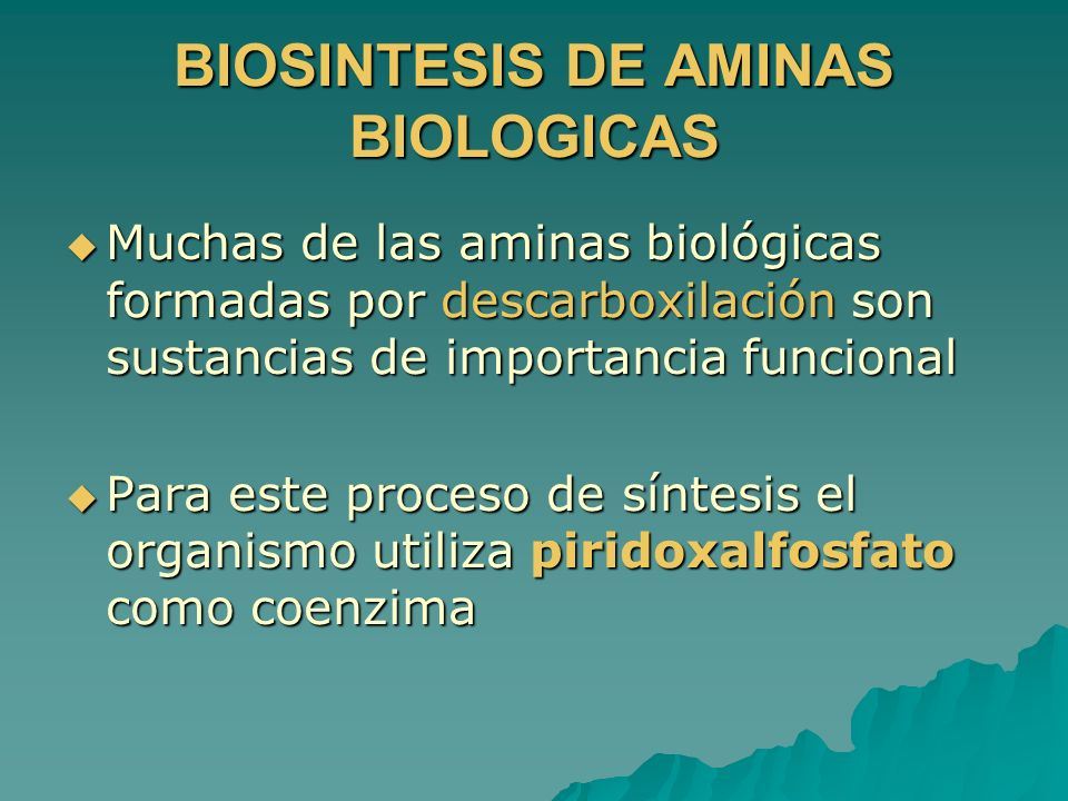 BIOSINTESIS DE AMINAS BIOLOGICAS