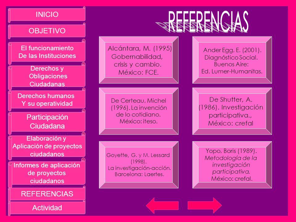REFERENCIAS INICIO OBJETIVO Alcántara, M. (1995) Ander Egg, E. (2001).